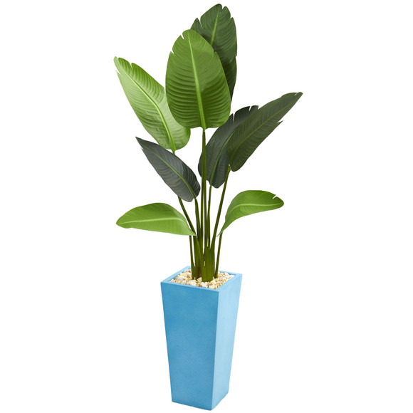 5 Travelers Artificial Palm Tree in Turquoise Planter - SKU #5662