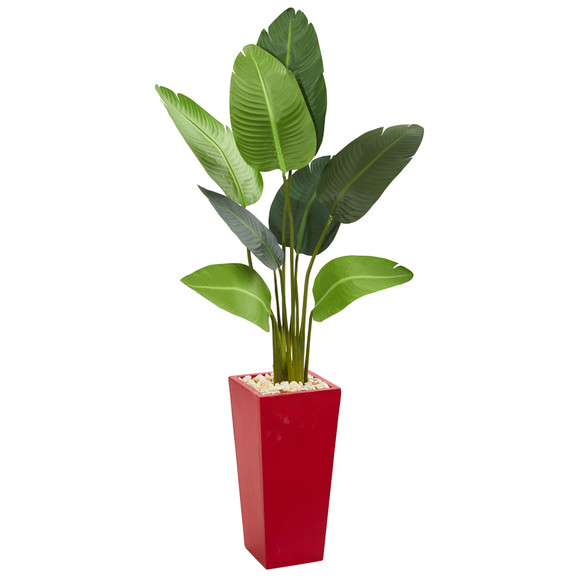 5 Travelers Artificial Palm Tree in Red Planter - SKU #5663