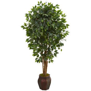 6 Ficus Artificial Tree in Decorative Planter - SKU #5665