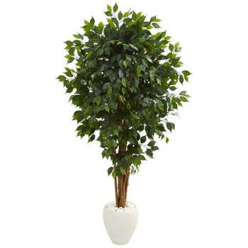 6 Ficus Artificial Tree in White Planter - SKU #5666