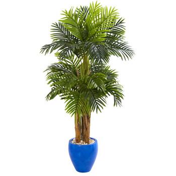 5 Triple Areca Palm Artificial Tree in Glazed Blue Planter - SKU #5668