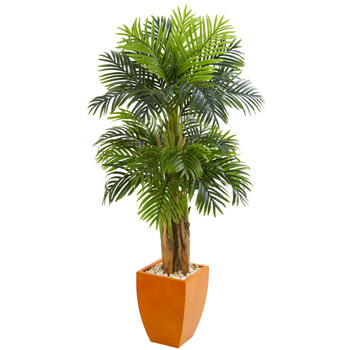Triple Areca Palm Artificial Tree in Orange Planter - SKU #5669