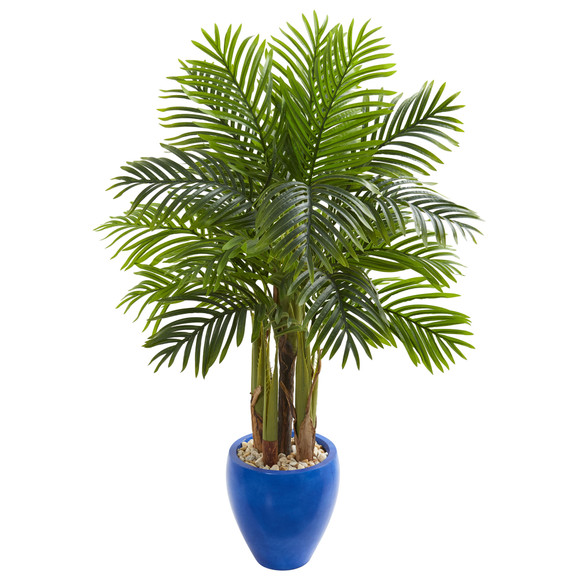Palm Artificial Tree in Blue Planter - SKU #5672