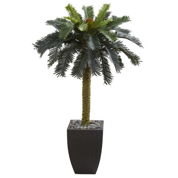 4.5 Sago Artificial Palm Tree in Black Planter - SKU #5674