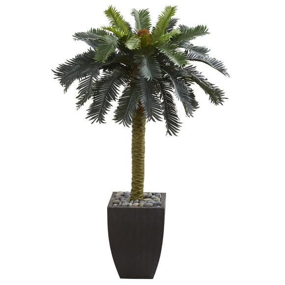 4.5 Sago Artificial Palm Tree in Black Planter - SKU #5674