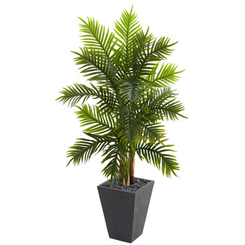 5 Areca Palm Artificial Tree in Slate Finished Planter Real Touch - SKU #5676