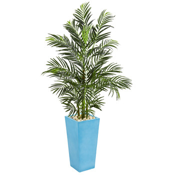 5 Areca Palm Artificial Tree in Turquoise Planter UV Resistant Indoor/Outdoor - SKU #5677