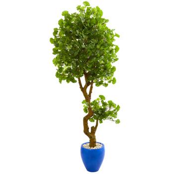 6 Jingo Artificial Tree in Blue Planter UV Resistant Indoor/Outdoor - SKU #5681