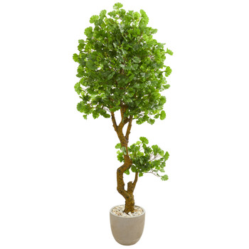 6.5 Jingo Artificial Tree in Sand Colored Planter UV Resistant Indoor/Outdoor - SKU #5682