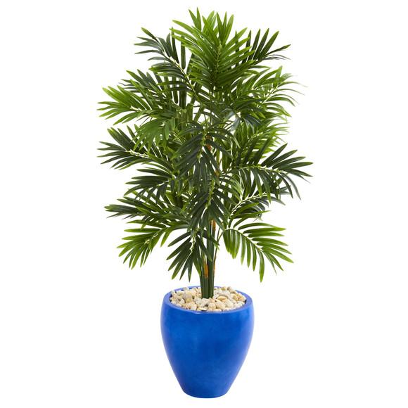 4 Areca Palm Artificial Tree in Glazed Blue Planter - SKU #5685