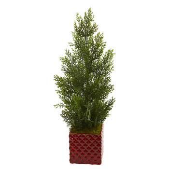 25 Mini Cedar Pine Artificial Tree in Red Planter Indoor/Outdoor - SKU #5693