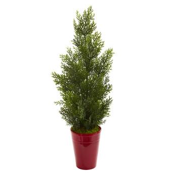 27 Mini Cedar Artificial Pine Tree in Decorative Planter Indoor/Outdoor - SKU #5694
