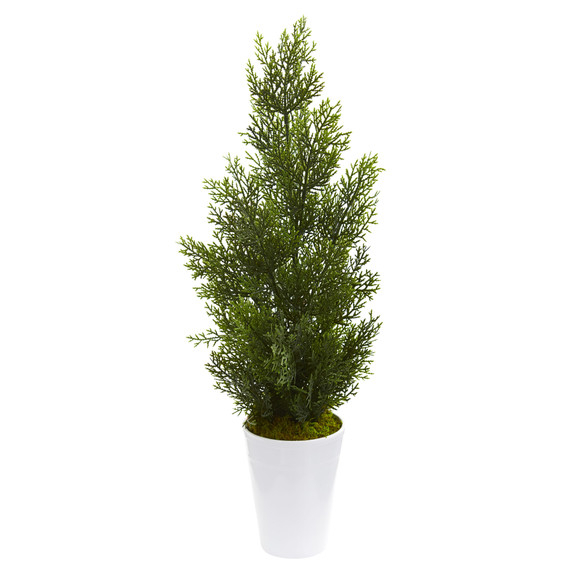 27 Mini Cedar Artificial Pine Tree in Decorative Planter Indoor/Outdoor - SKU #5694 - 1