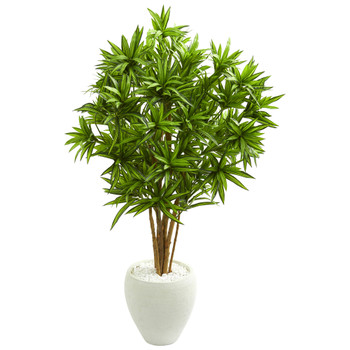 4.5 Dracaena Artificial Tree in White Planter - SKU #5698