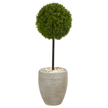 3 Boxwood Ball Topiary Artificial Tree in Oval Planter UV Resistant Indoor/Outdoor - SKU #5700