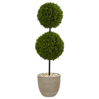 4 Boxwood Double Ball Topiary Artificial Tree in Oval Planter UV Resistant Indoor/Outdoor - SKU #5701