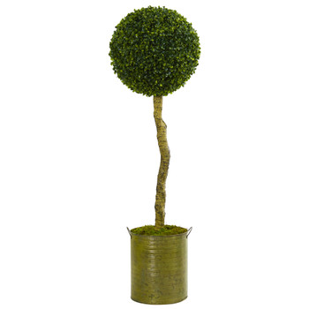 4 Boxwood Ball Topiary Artificial Tree in Green Tin Planter UV Resistant Indoor/Outdoor - SKU #5702