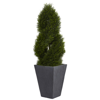 4 Cypress Double Spiral Topiary Artificial Tree in Slate Planter UV Resistant Indoor/Outdoor - SKU #5703