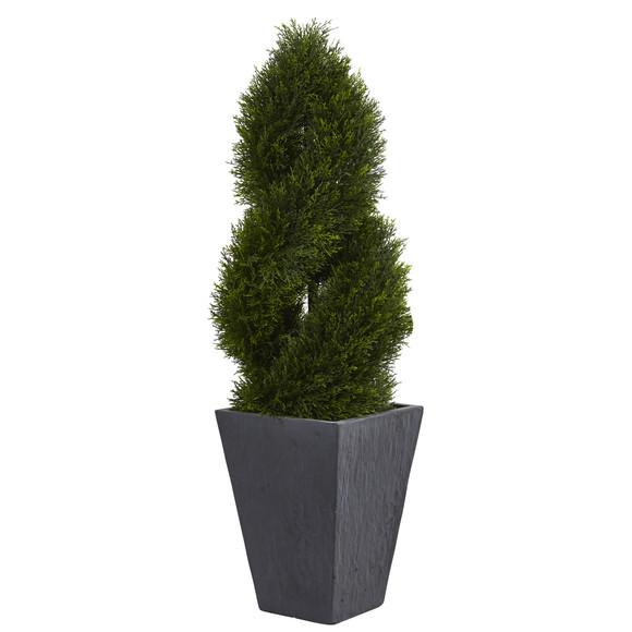 4 Cypress Double Spiral Topiary Artificial Tree in Slate Planter UV Resistant Indoor/Outdoor - SKU #5703