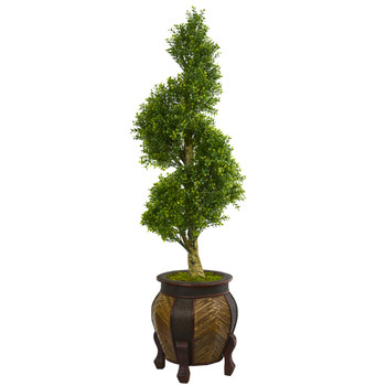 4.5 Boxwood Spiral Topiary Artificial Tree in Decorative Planter - SKU #5704