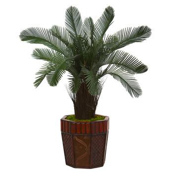 3 Cycas Artificial Tree in Bamboo Planter - SKU #5705