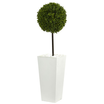 3.5 Boxwood Ball Topiary Artificial Tree in White Tower Planter UV Resistant Indoor/Outdoor - SKU #5706