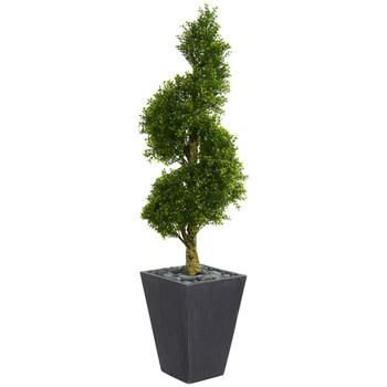 5 Boxwood Spiral Topiary Artificial Tree in Slate Planter UV Resistant Indoor/Outdoor - SKU #5707