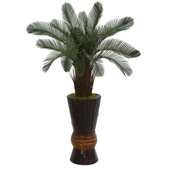 3.5 Cycas Artificial Tree in Bamboo Planter UV Resistant Indoor/Outdoor - SKU #5708