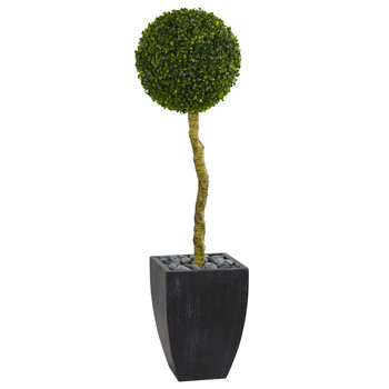 4 Boxwood Ball Topiary Artificial Tree in Black Wash Planter UV Resistant Indoor/Outdoor - SKU #5710