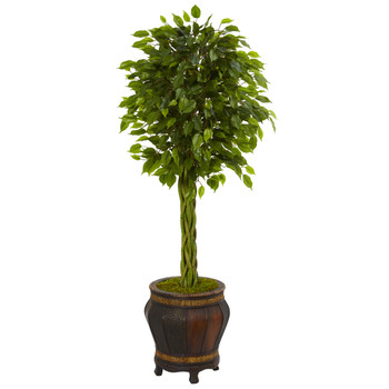 4.5 Braided Ficus Artificial Tree in Planter UV Resistant Indoor/Outdoor - SKU #5711