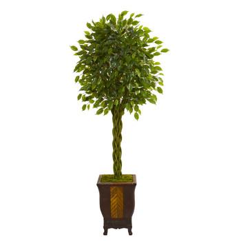 6 Braided Ficus Artificial Tree in Decorative Planter - SKU #5715