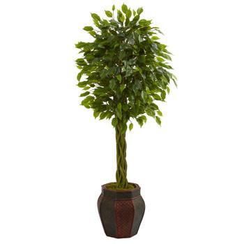 4.5 Braided Ficus Artificial Tree in Decorative Planter - SKU #5718