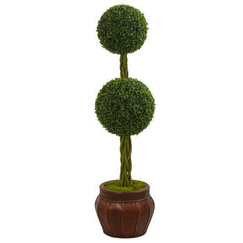 4.5 Boxwood Double Topiary Artificial Tree in Decorative Planter - SKU #5721