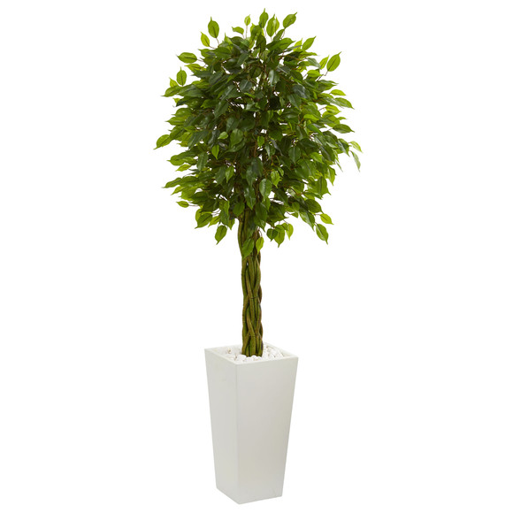 5 Braided Ficus Artificial Tree in White Tower Planter UV Resistant Indoor/Outdoor - SKU #5724