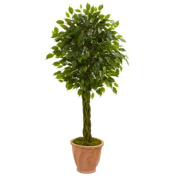 4 Braided Ficus Artificial Tree in Terracotta Planter UV Resistant Indoor/Outdoor - SKU #5727