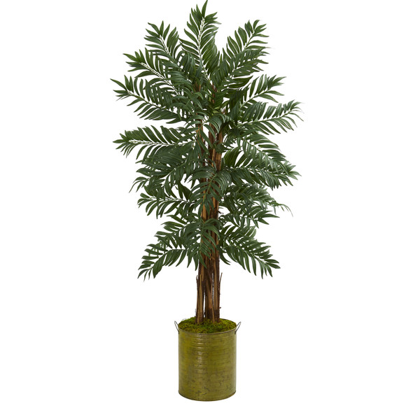 5 Parlor Palm Artificial Tree in Green Tin Planter - SKU #5732