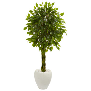 4.5 Braided Ficus Artificial Tree in White Planter UV Resistant Indoor/Outdoor - SKU #5733