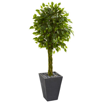 5 Braided Ficus Artificial Tree in Slate Planter UV Resistant Indoor/Outdoor - SKU #5738