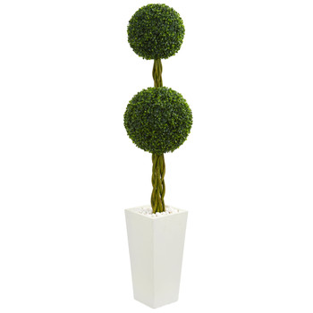 5 Double Ball Boxwood Topiary Artificial Tree in White Tower Planter UV Resistant Indoor/Outdoor - SKU #5742
