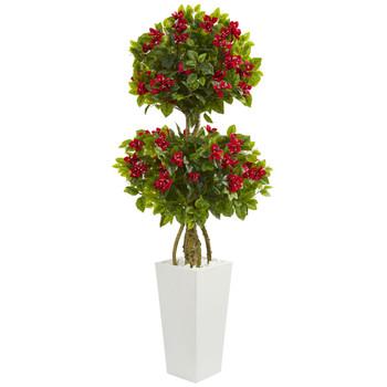 5 Double Bougainvillea Artificial Tree in White Tower Planter - SKU #5744