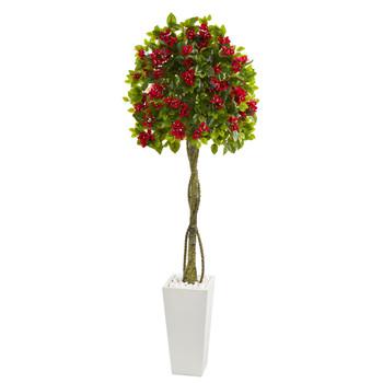 6 Bougainvillea Artificial Tree in White Tower Planter - SKU #5746