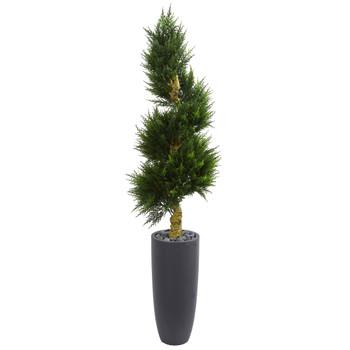 6 Spiral Cypress Artificial Tree in Cylinder Planter UV Resistant Indoor/Outdoor - SKU #5749