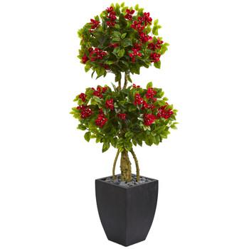 5 Double Ball Bougainvillea Artificial Tree in Black Wash Planter - SKU #5750
