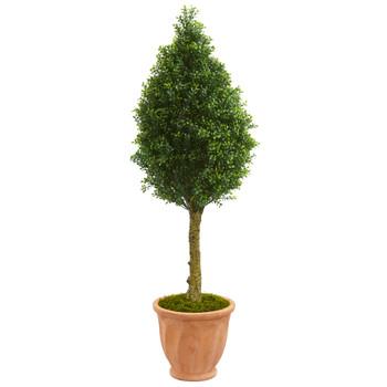 4 Boxwood Cone Artificial Tree in Terracotta Planter UV Resistant Indoor/Outdoor - SKU #5751