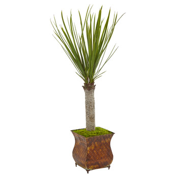 40 Yucca Artificial Tree in Metal Planter - SKU #5753