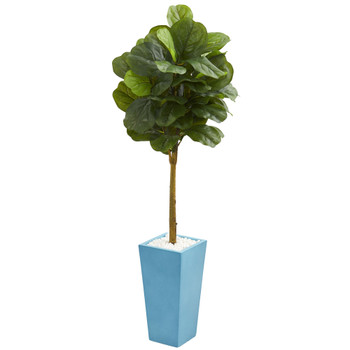 4 Fiddle Leaf Artificial Tree in Turquoise Planter Real Touch - SKU #5754