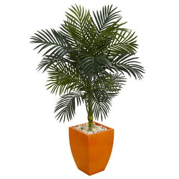 4.5 Golden Cane Palm Artificial Tree in Orange Planter - SKU #5756