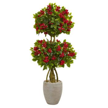 4.5 Double Bougainvillea Topiary Artificial Tree in Oval Planter - SKU #5758
