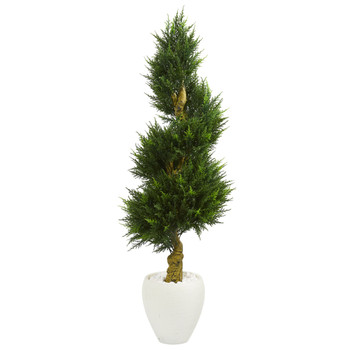 5 Cypress Spiral Artificial Tree in White Oval Planter UV Resistant Indoor/Outdoor - SKU #5760