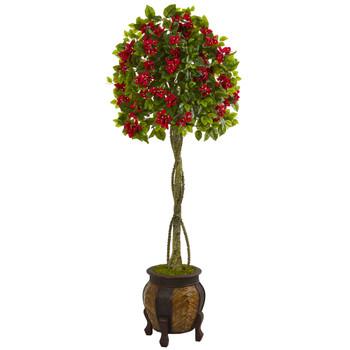 5.5 Bougainvillea Topiary Artificial Tree in Decorative Planter - SKU #5761